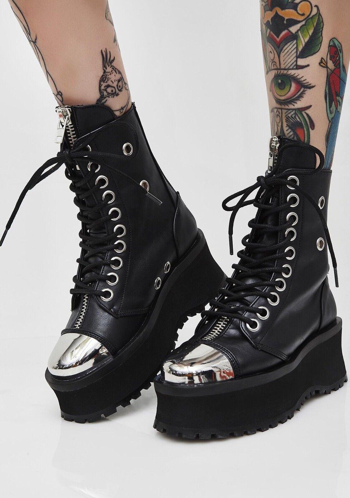 Demonia Gravedigger 10 para hombre de combate Puntera botas para mujer 6