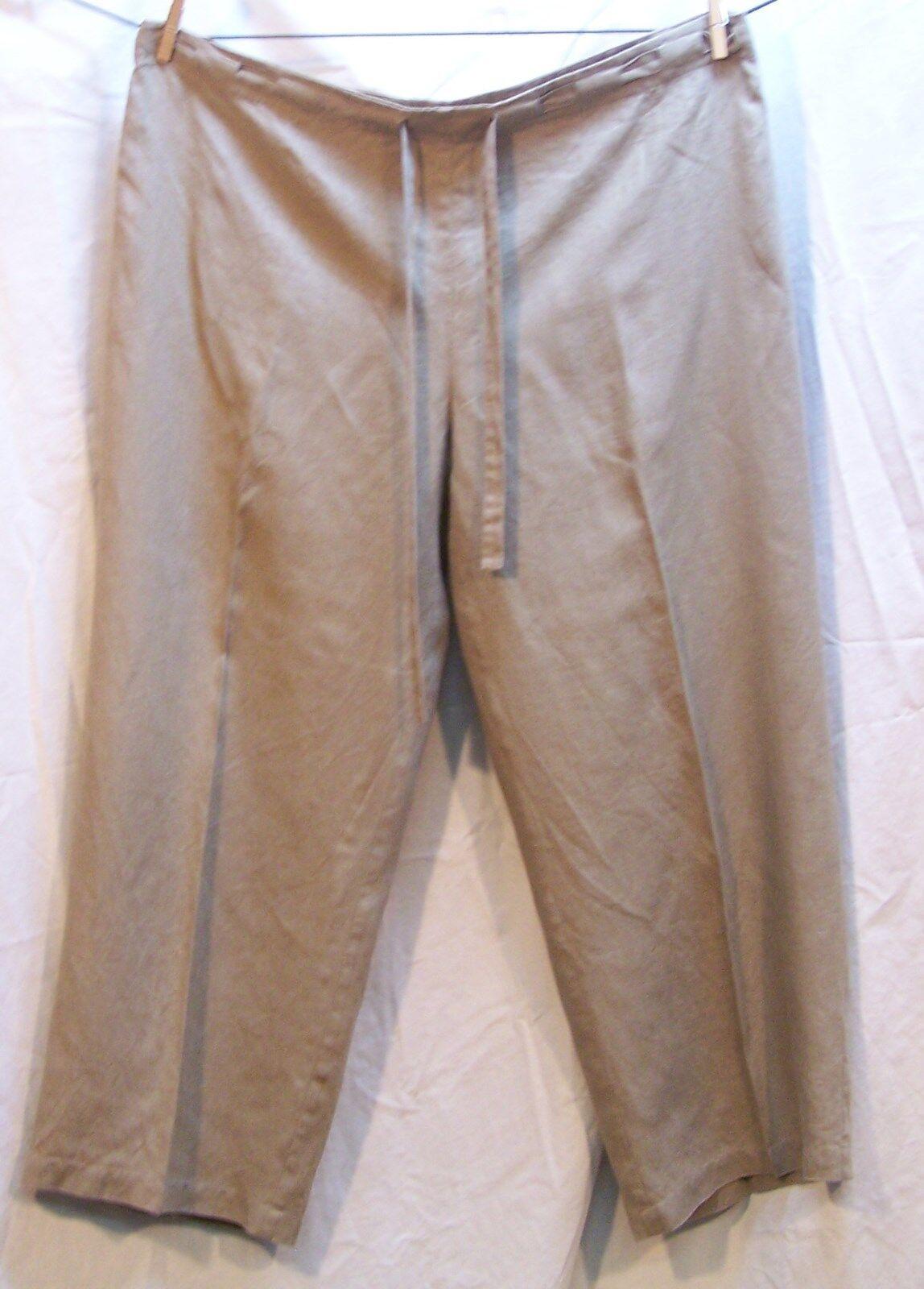 Eileen Fisher Women's Small Beige Linen Drawstring Crop Pant