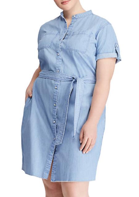 3efa26b4b7a NWT RALPH LAUREN BLUE COTTON DENIM BELTED SHIRT DRESS SIZE 16 W WOMEN  135