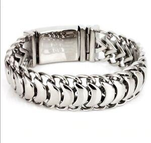 Men-039-s-Solid-925-Sterling-Silver-Unique-Link-Fashion-Keel-Bracelets