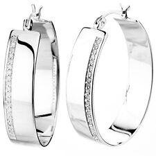 1/4 cttw Natural Diamond Hoop Earrings .925 Sterling Silver 1.33 Inch Height
