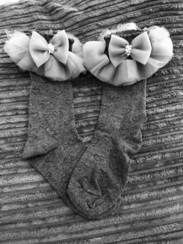 Twinkle Toes Grey Knee High school  socks Can Made Size 6-8.5 9-12 12.5-3.5