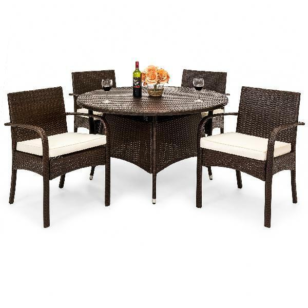 Fantastic 5 Piece Patio Dining Set Round Table Chair Resin Wicker Outdoor Garden Furniture Beutiful Home Inspiration Aditmahrainfo