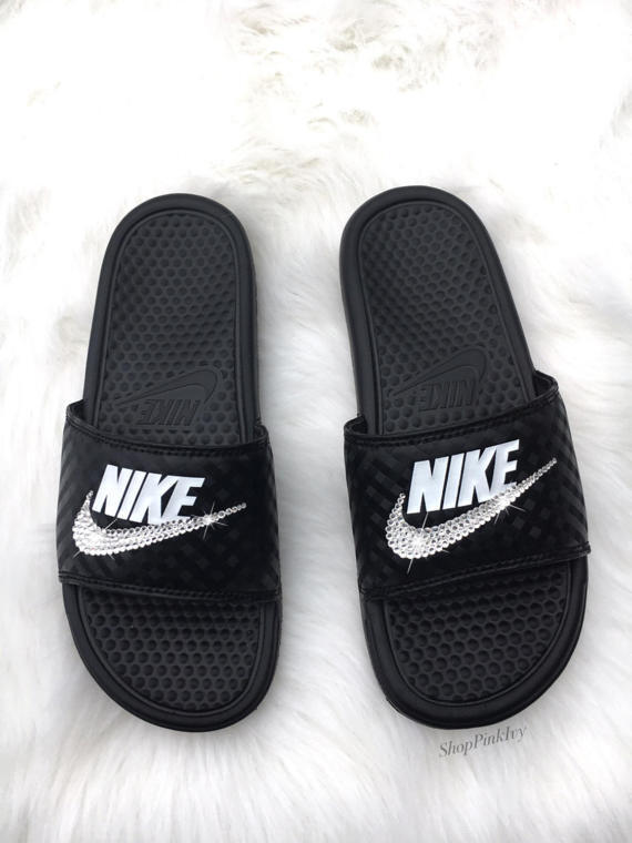 Bling Nike Slides With Swarovski Crystals