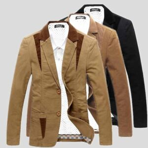 Men's Formal Jacket Stylish Button Suit Blazer Coat Casual Slim Fit Tops Outwear