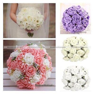50Pcs Foam Rose Artificial Flower Craft Wedding Bouquet Party DIY 5 Colors