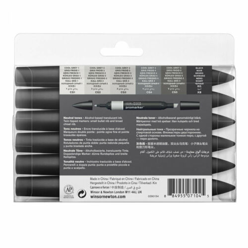 Winsor /& Newton Promarker Twin-Tip Graphic Markers Set of 6 Neutral Tones