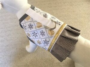 Holiday-Winter-Silver-And-Gold-Snowflake-Dog-Harness-Vest-With-Ruffle-Skirt