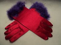Red Hat Society red Satin Gloves With Purple Feather Trim