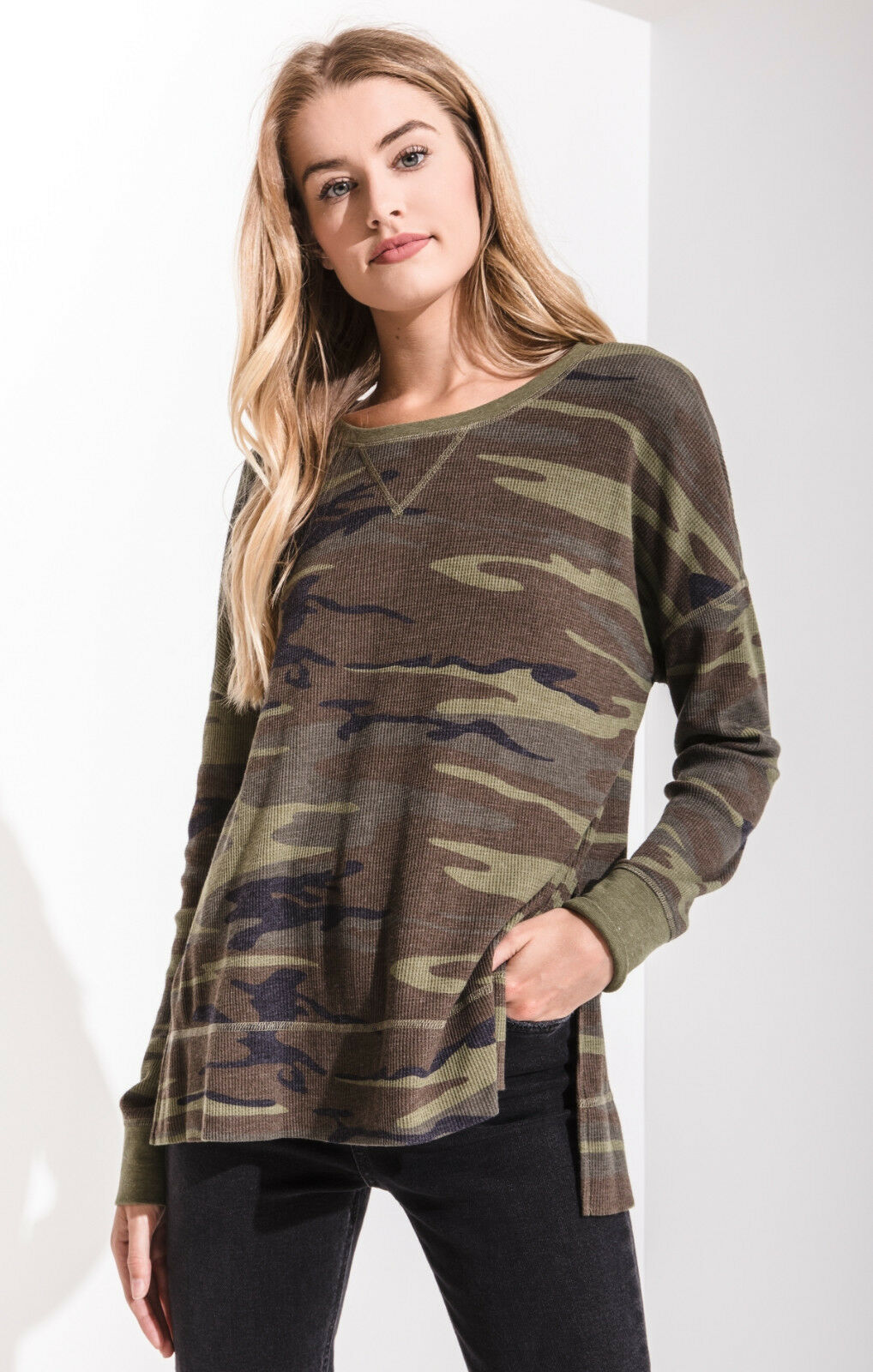 Z SUPPLY damen EMERSON CAMO WAFFLE THERMAL TOP 2 FarbeS NWT