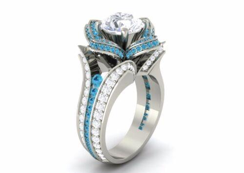 1.09 Ct White Blue Round VVS1 Diamond Party Engagement Ring 14K White Gold