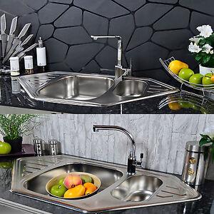 acier inox evier de cuisine 2 lavabo evier encastr evier zub vier vier ebay. Black Bedroom Furniture Sets. Home Design Ideas