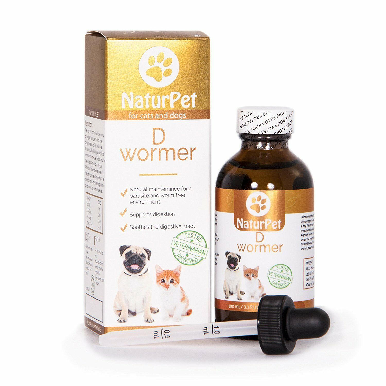 Naturpet D Wormer 100% 100% 100% Natural, Safe, & Effective Dewormer for Dogs and Cats 3506f3