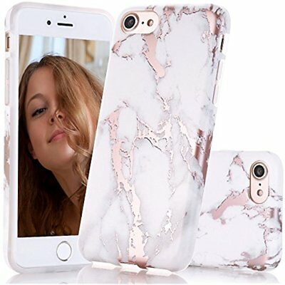 Iphone 7 Case Shiny Rose Gold White Marble Design Clear