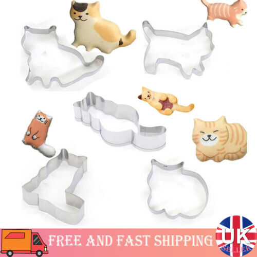 2 Pack Stainless Steel Fondant Mould Cake Decor Baking Mold Cat Cutting Molds