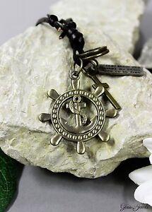 Glass-Jewels-Bronze-Halskette-Anhaenger-Anker-Maritim-Lederband-Verstellbar-N021