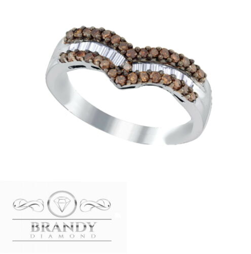 Details about  /Brandy Diamond® Chocolate Brown Silver Chevron Designed Band Ring .52Ct