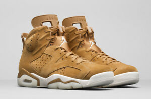 d4a4bf363777 AIR JORDAN RETRO 6 VI 384665-705 GOLDEN HARVEST WHEAT FLAX GS 4-7 ...