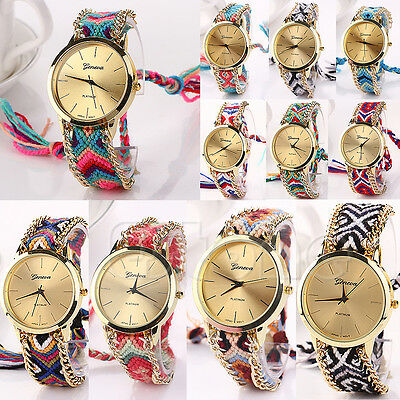 New Women Classic Geneva Ethnic Braided Analog Quartz Chain Bracelet Wrist Watch