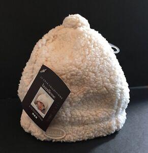 New JJ Cole Bundleme Cream Girl Boy Baby Infant Shearling Hat 6-12 Mos Twin