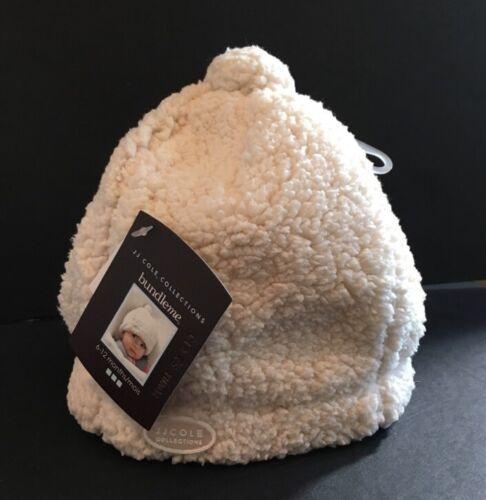 New JJ Cole Bundleme Cream Girl Boy Baby Infant Shearling Hat 0-6 Mos Twin