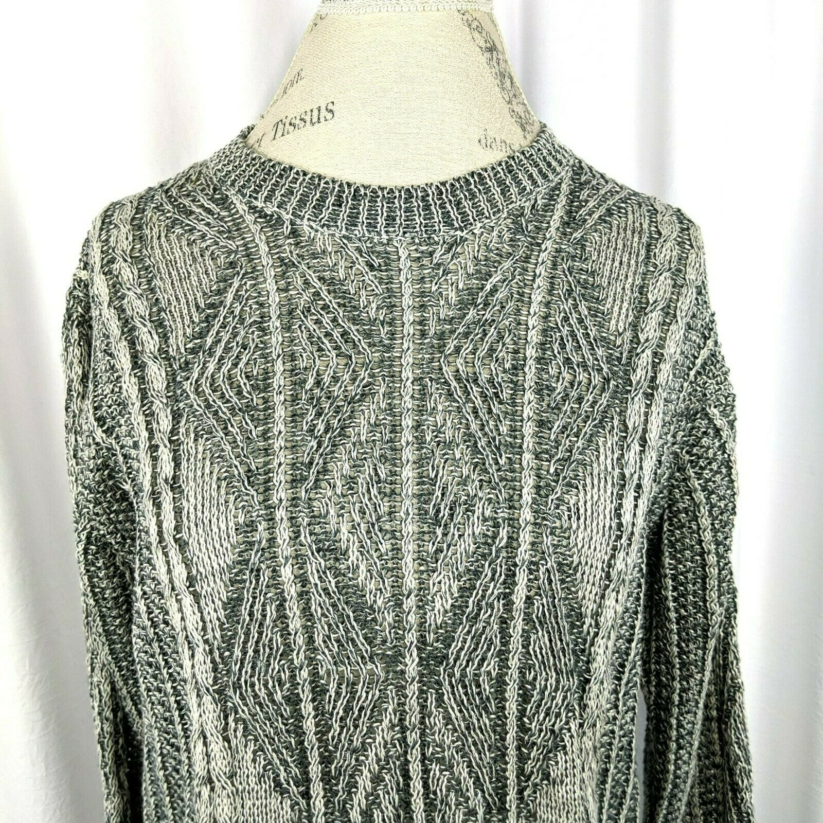 Inis Meain Gray Cream Linen Cable Knit Sweater Sz… - image 2