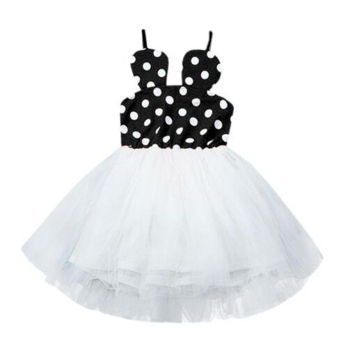 Toddler Baby Girl Patchwork Dot Pettiskirt Princess Braces Tulle TuTu Dress L
