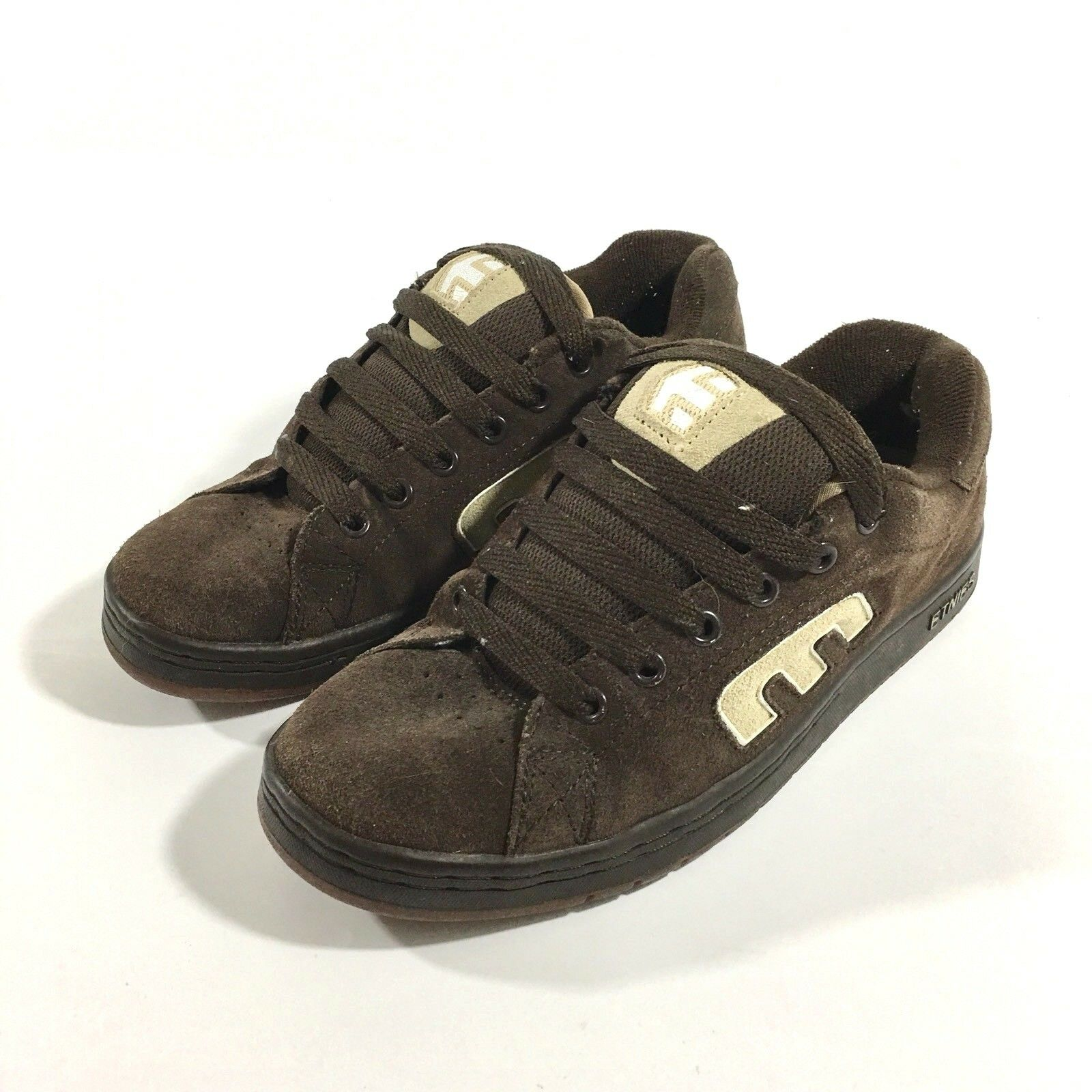 93123a5088bc ETNIES Callicut Mens Size 7.5 7.5 7.5 Skateboard Shoes Brown Suede Tan  Lettering 87b88a
