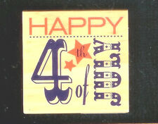 """2.25""""x2.25"""" Wood Rubber Stamp 4th of July Party Picnic Invitation Scrapbook Card"""