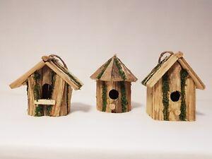 Vogelhaus-Naturholz-Holz-Vogel-Haus-Vogelhaeuschen-Futterspender-Neu