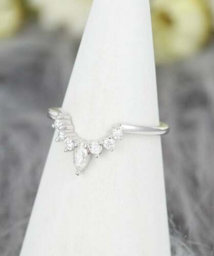 0.60Ct Round /& Marquise Cut Engagement Curved Band//Ring 14k White Gold Fin
