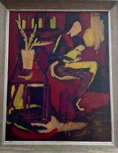 Joan-Brown-American-1938-1990-Original-Oil-Painting-1968-Signed-art-decor-nyc