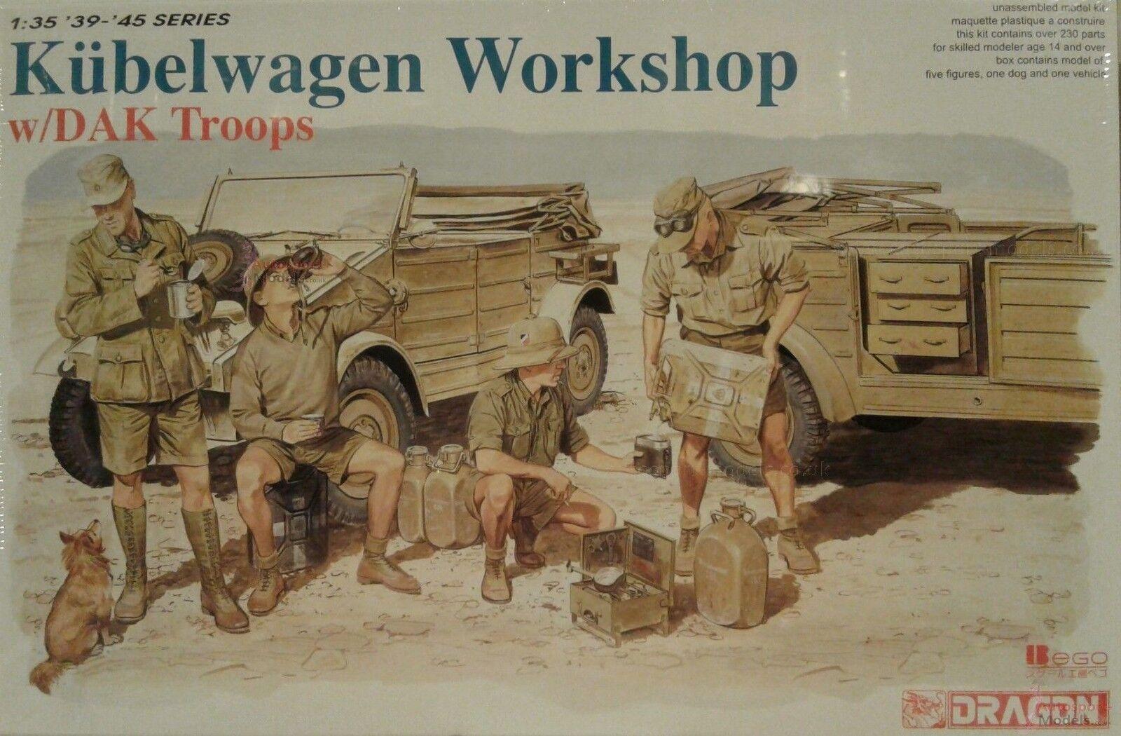 1 35 WWII German Kubelwagen Workshop with figures by Dragon 6338