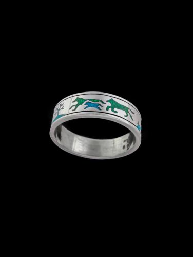925 Sterling Silver Ring Turquoise RIng Wolf Ring Wolves Ring Malachite RIng