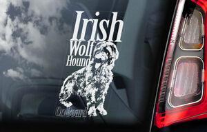 Irlandese-Wolfhound-On-Board-Auto-Finestrino-Adesivo-Lupo-Hound-Dog-Segno