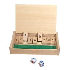 """New Mini Wooden Shut the Box Game - 5-1/2"""" x 3-1/2""""  Game Board and 2 Dice"""