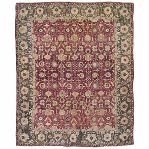 Antique-8X10-Burgundy-Agra-Area-Rug-c-1890-Indian-Hand-Knotted-Wool-7-11-x-9-7