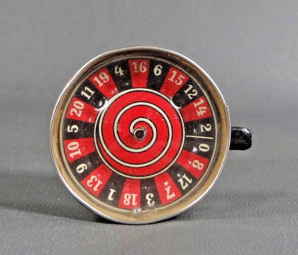 1930s pre-guerra alemán Portátil de Bolsillo Mini Rueda de la ruleta Juego Apuestas juguete de estaño