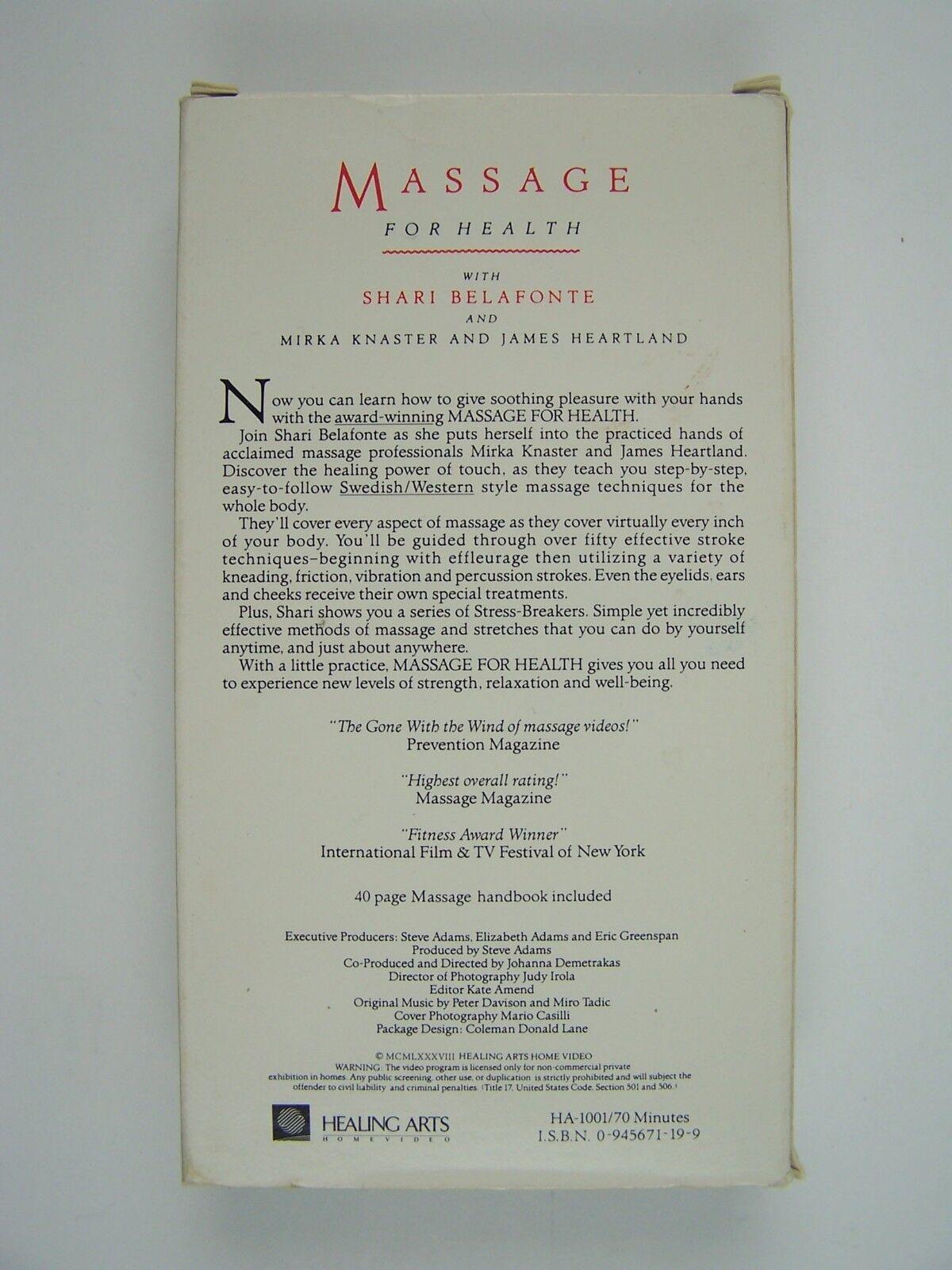 Massage for Health VHS Shari Belafonte Harper 299561111