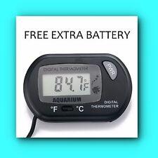 New TINY SEAS Digital LCD Aquarium Temperature Thermometer  FREE EXTRA BATTERY