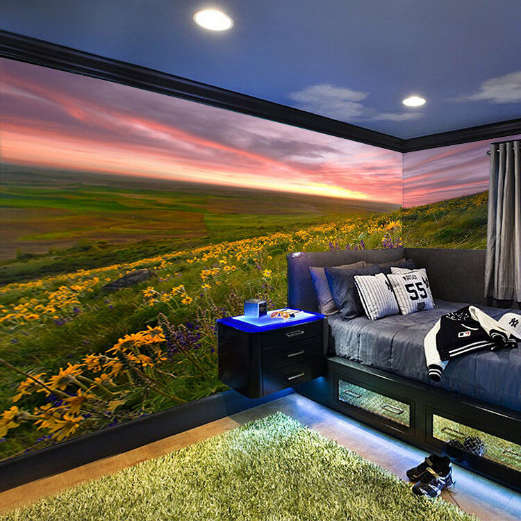3D Sunset Glow Flowers Wall Paper Wall Print Decal Wall Deco Wall Indoor Murals