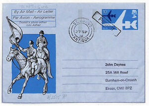 JJ259 1976 GB Abroad ANTIGUA PAQUEBOT St Johns Airletter Essex {samwells-covers}
