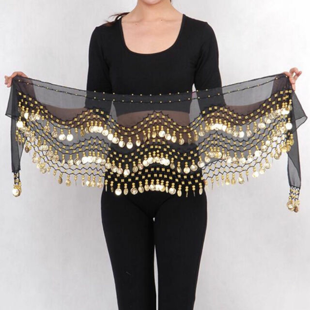 Plus Size XL Chiffon Belly Dance Hip Scarf Wrap Belt Tribal Sash Skirt