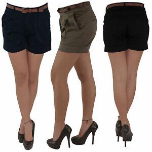 Hot-Pants-Hotpants-Jeans-Shorts-Kurze-Stoff-Hose-Capri-Hueft-Stretch-Guertel-0all