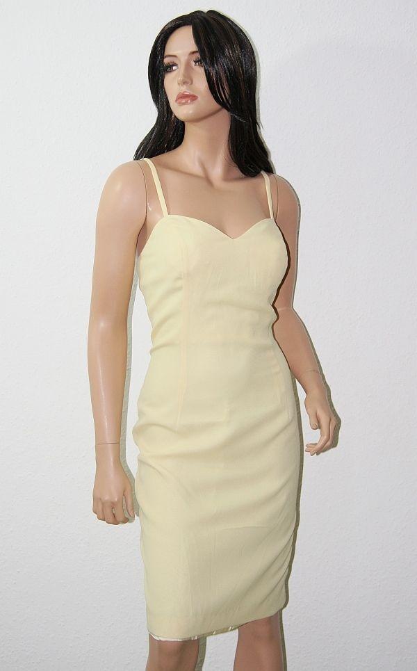 DAVID FARRIN Abendkleid hellgelb 42 NEU Designer Trägerkleid Kleid 439,- DES-009