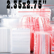 2x25 Small Clear Zip Bags 1mil Plastic Top Seal Reclosable Poly Zipper Rings