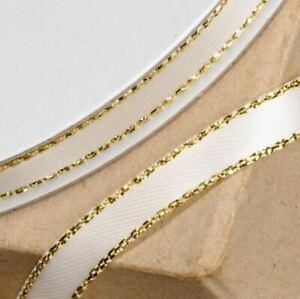 IVORY /& GOLD SATIN LUREX RIBBON 3mm x 25 METERS FULL REEL CRAFT WEDDING XMAS