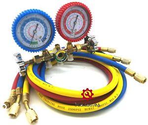 R134a R12 R22 R502 Manifold Gauge Set HVAC AC Refrigerant w// 5ft Charging Hoses