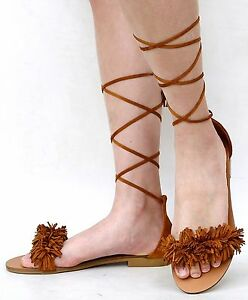 Details about New Women Fmd57 Black Tan Fringe Lace Up Flat Sandals
