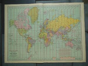 Details about Large Beautiful 1942 Vintage Full Color Map World Time Zones  20 1/2\
